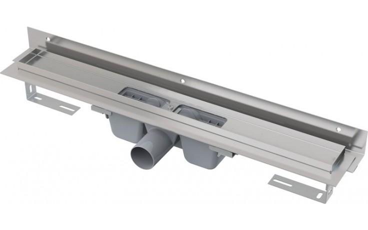 CONCEPT liniový podlahový žlab 750mm, s okrajem pro perforovaný rošt, s nastavitelným límcem ke stěně, nerez