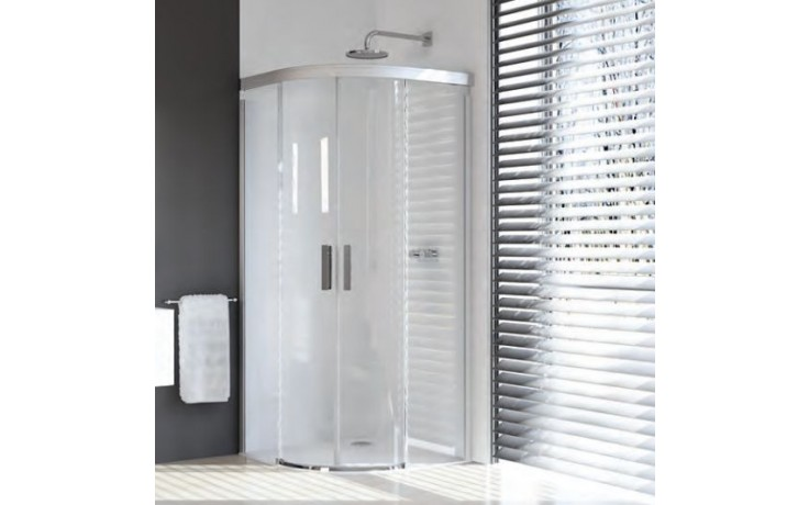 Zástěna sprchová čtvrtkruh Huppe sklo Design pure 800x900x2000 mm, R500 stříbrná lesk./černá/Intima AP