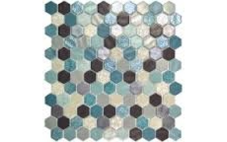RAKO GLASS MOSAIC mozaika 30x30cm, lepená na síťce, sklo, Hex Blend Aquamarine