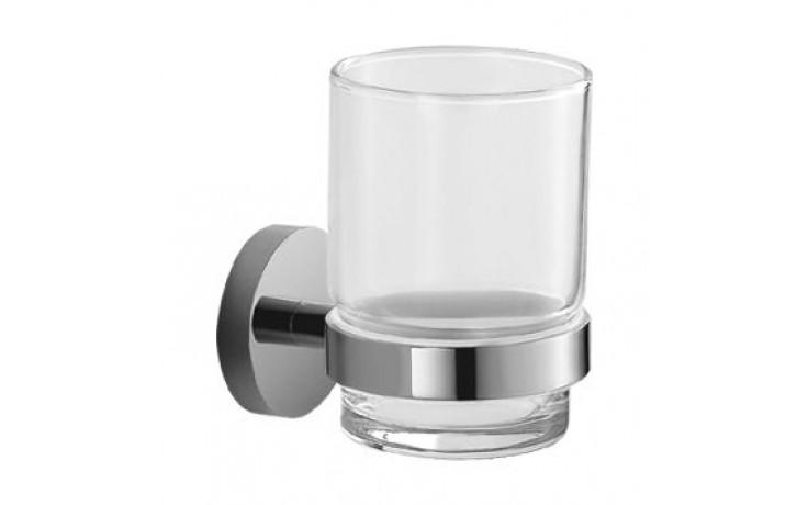 JIKA MIO držák se skleněným pohárkem 68x92mm, chrom/transparentní sklo