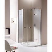 HÜPPE ENJOY PURE 2-křídlové dveře 900x900x2000mm s pevnými segmenty, čtvrtkruh, s nástěnnou lištou, stříbrná lesklá/sklo čiré AntiPlaque