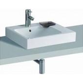 GEBERIT ICON umyvadlo 50x48,5cm, na desku, s otvorem pro baterii, s přepadem, s dekorativní miskou, bílá/Keratect 124550600