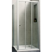 CONCEPT 100 NEW sprchové dveře 1000x1000x1900mm posuvné, rohový vstup 3 dílný, bílá/čiré sklo AP, PTA21103.055.322
