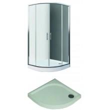 EASY SET ELR2 800 B sprchový kout a ELR 800 sprchová vanička 800x1900mm R550 čtvrtkruh, bílá/transparent