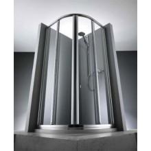 Zástěna sprchová čtvrtkruh Huppe sklo 1002 Designer JJ 90x90x190 cm stříbrná ir/čiré Antipl.