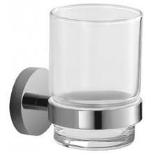 JIKA MIO držák se skleněným pohárkem 68x92mm, nástěnný, chrom/transparentní sklo