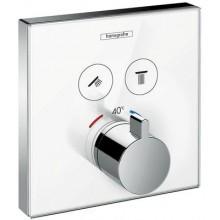HANSGROHE SHOWERSELECT GLASS termostatická sprchová baterie 156x156mm podomítková, pro 2 spotřebiče, bílá/chrom