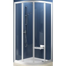 Zástěna sprchová čtvrtkruh Ravak sklo SKCP4-90 posuvný 90 bílá/grape