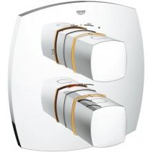 GROHE GRANDERA sprchová baterie 210x210mm, podomítková, termostatická, vrchní díl, s 2-cestným přepínačem, chrom/zlatá