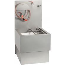 AZP BRNO VLK 03 výlevka 600x1250mm, s roštem, hadicí a kohouty, pro vylévání chemických WC, závěsná, nerez