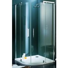 Zástěna sprchová čtvrtkruh Huppe sklo Refresh pure 800x800x1943/R500mm titanová stříbrná/karo AP