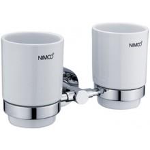 Doplněk držák se skleničkou Nimco Unix dvojitý 21x11 cm chrom/keramika