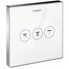 HANSGROHE SHOWERSELECT GLAS ventil pod omítku 156x156mm pro 3 spotřebiče, bílá/chrom