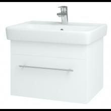 DŘEVOJAS Q UNO 600 S skříňka s umyvadlem 54,5x39,2x43,4cm, závěsná, vysoký lesk, bílá