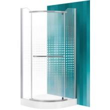 ROLTECHNIK SANIPRO AUSTIN/900 sprchový kout 900x1950mm R550 čtvrtkruh, s jednokřídlými otevíracími dveřmi, stříbro/potisk