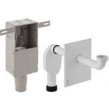 GEBERIT zápachová uzávěrka 50-56mm, pod omítku pro umyvadlo, s krabicí pro montáž do stěny, se šroubením pro odpadní ventil, chrom lesk