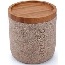 NIMCO KORA dóza na kosmetické tampóny 90x97mm a jiné potřeby, pískově béžová/polyresin, bambus