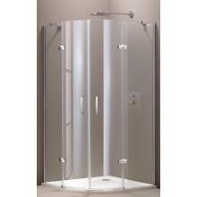 HÜPPE AURA ELEGANCE 2-křídlové dveře 900x900x1900mm s pevnými segmenty, čtvrtkruh, stříbrná lesklá/sklo Privatima Anti-Plague