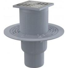 ALCAPLAST podlahová vpusť 105x105mm, přímá pr.50/70mm, vodní zápachová uzávěra, nerez