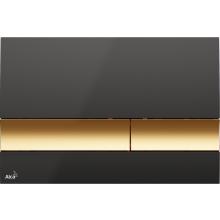 ALCAPLAST M1728-5 ovládací tlačítko 247x15x165mm, pro předstěnové instalační systémy, plast, černá/zlatá