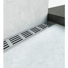 Žlab je opatřen třemi přírubami svislými (stěnovými) a jednou vodorovnou (podlahovou). Žlab je spádován směrem k výtoku.