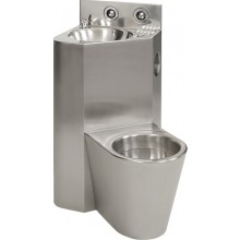 SANELA SLWN08P set WC s umyvadlem do rohu, WC na zemi vpravo, antivandal, nerez mat