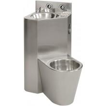SANELA SLWN08ZP set WC s umyvadlem do rohu, WC závěsné vpravo, antivandal, nerez mat