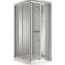 CONCEPT 100 sprchové dveře 900x900x1900mm posuvné, rohový vstup 2 dílný, stříbrná/matný plast