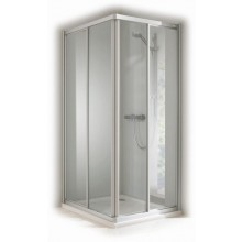 CONCEPT 100 sprchové dveře 1000x1000x1900mm posuvné, rohový vstup 2 dílný, stříbrná/matný plast