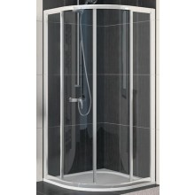 SANSWISS ECO LINE ECOR sprchový kout 900x900x1900mm, R550, s dvoudílnými posuvnými dveřmi, čtvrtkruh, bílá/sklo Durlux