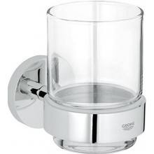GROHE ESSENTIALS sklenička s držákem 99mm, sklo/kov, chrom