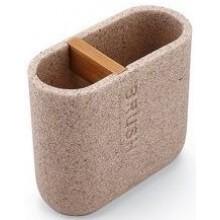 NIMCO KORA dóza na kartáčky 110x50x100mm, polyresin/ bambus, pískově béžová