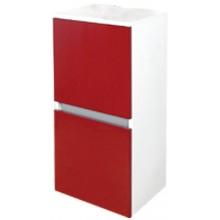 EDEN GRANÁT skříňka 390x840x320mm, střední, závěsná, levá, lak bílá lesk/lak bordó