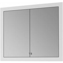 DŘEVOJAS GRID GA 90 2D S zrcadlová skříňka 90x14x73,9cm vestavná, s LED vnitřním automatickým osvětlením a zásuvkou, bílá vysoký lesk