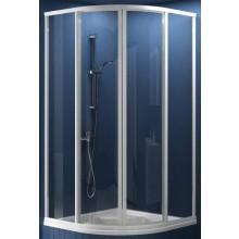 RAVAK SUPERNOVA SKCP4 SABINA 90 sprchový kout 875-895x1700mm čtvrtkruhový, snížený, posuvný, čtyřdílný satin/pearl 31177VU0011