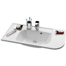 RAVAK PRAKTIK S speciální umyvadlo nábytkové 960x490x190mm z litého mramoru, levé s otvorem, bílá