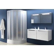 RAVAK SKKP6-90 sprchový kout 875-895x1850mm čtvrtkruhový, posuvný, šestidílný, bílá/umělá hmota santro