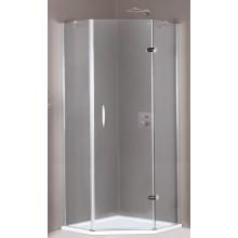 HÜPPE AURA ELEGANCE 1-křídlové dveře 900x900x1900mm s pevnými segmenty, 5-úhelník, upevnění vpravo, stříbrná lesklá/sklo čiré Anti-Plague