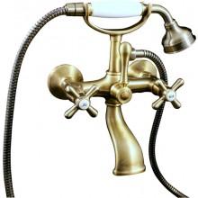 RAV SLEZÁK MORAVA nástěnná baterie vanová, s vidlicí na odkládání sprchy, se sprchou, stará mosaz MK159.5/2SM