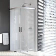 Zástěna sprchová čtvrtkruh Huppe sklo Design pure 1000x900x1900 mm stříbrná matná/čiré AP