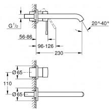 GROHE ESSENCE umyvadlová baterie 230mm, 2-otvorová, nástěnná, podomítková, vrchní díl, páková, Hard Graphite