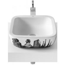 Mísa umyvadlová Roca bez otvoru Urban 40 cm bílá+motiv