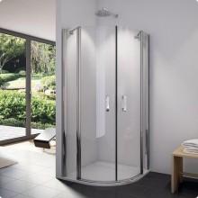 SANSWISS SWING-LINE SLR sprchový kout 900x900x1950mm s dvoukřídlými dveřmi, čtvrtkruh, aluchrom/čiré sklo Aquaperle