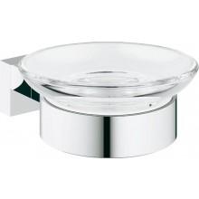 GROHE ESSENTIALS CUBE miska na mýdlo 125mm, s držákem, sklo/chrom