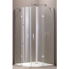 HÜPPE AURA ELEGANCE 2-křídlové dveře 900x900x1900mm s pevnými segmenty, čtvrtkruh, stříbrná matná/sklo Privatima Anti-Plague