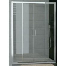 SANSWISS TOP LINE TOPS4 sprchové dveře 1400x1900mm, dvoudílné posuvné s 2 pevnými stěnami v rovině, matný elox/čiré sklo