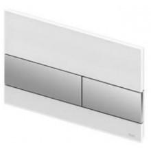 TECE SQUARE ovládací tlačítko 220x11x150mm dvojčinné, sklo, bílá/chrom