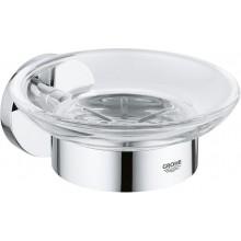 GROHE ESSENTIALS miska na mýdlo 125mm, s držákem, kov/sklo, chrom
