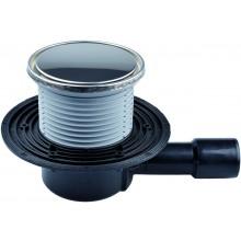 HL vpust DN40/50 podlahová, s vodorovným odtokem, s pevnou izolační přírubou, polyetylen/nerez