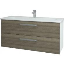DŘEVOJAS GIO SZZ2 125 koupelnová skříň 1160x560x450mm, včetně umyvadla, bílá/cafe